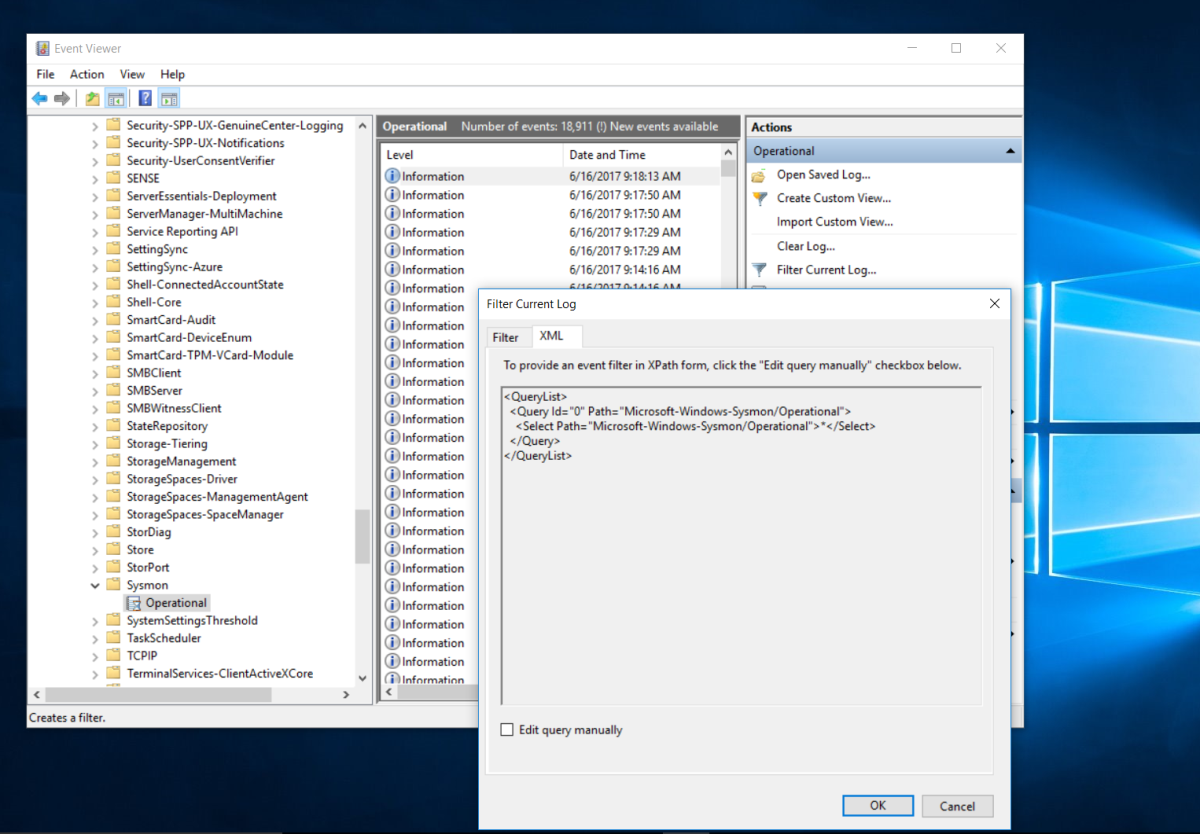 SYSMON LOGS WEF - Supported ?
